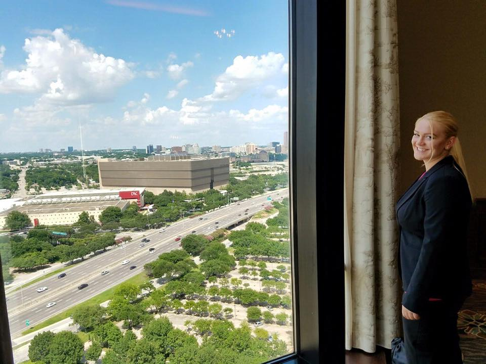 Amber takes in the view from the hotel. (Dallas, TX) ©BGCCW2016